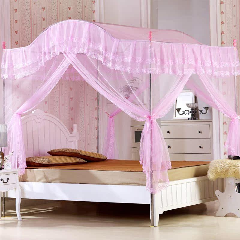 艾爱家纺 床上用品 不锈钢三开门拱形蚊帐 韩式公主贵族蚊帐特价