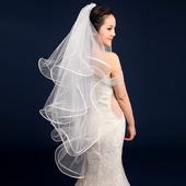 新娘头纱新款 新款 婚纱头纱高档缎边四层蓬鱼骨白色头纱多层头纱