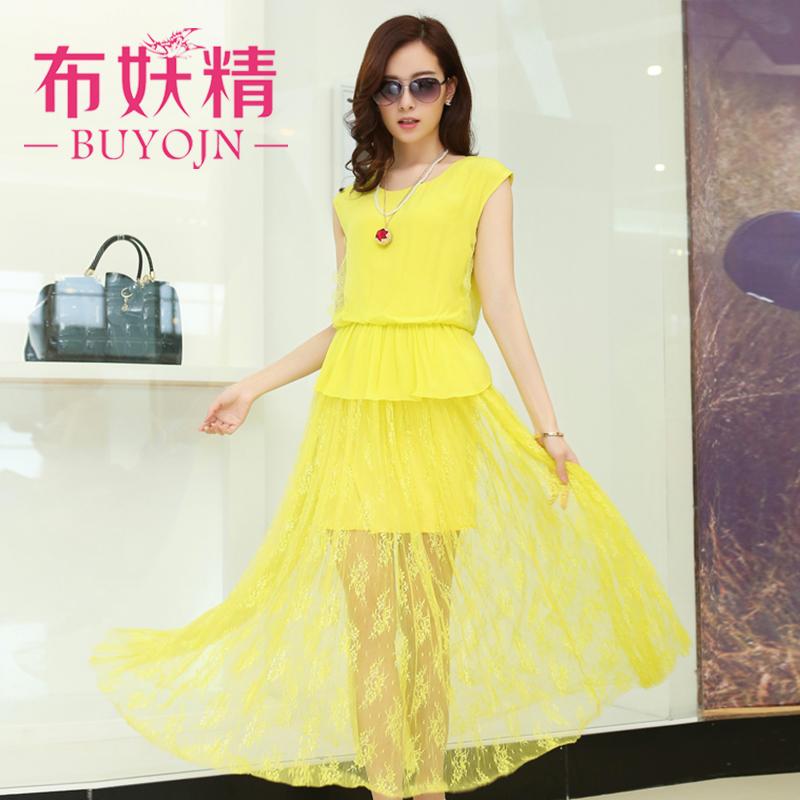 夏装新款2014韩版女装修身波西米亚大码蕾丝雪纺连衣裙长裙夏裙子