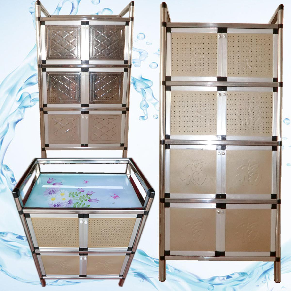 不鏽鋼碗櫃廚房櫃餐邊櫃茶水櫃儲物櫃簡易微波爐架櫃廚房收納柜子