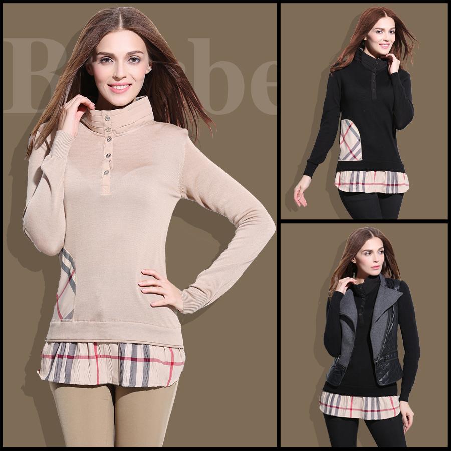 B家2014秋新款女装针织线衣格子高领套头长袖保暖打底衫针织衫女