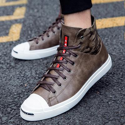 韩版潮鞋真皮男鞋秋季新款板鞋高帮鞋英伦风时尚内增高休闲鞋6CM