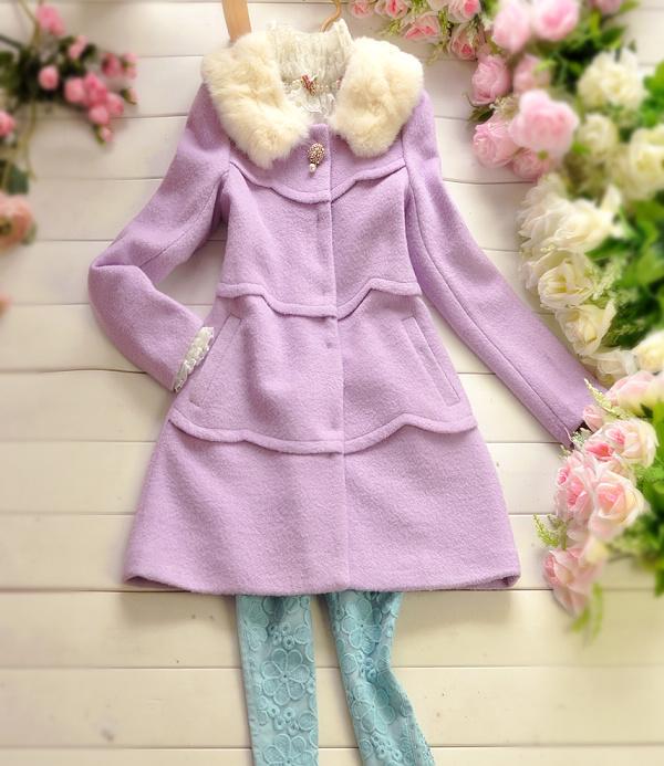 秋冬新款毛呢外套女呢大衣妮子大衣紫色洋装毛领新款公主102645
