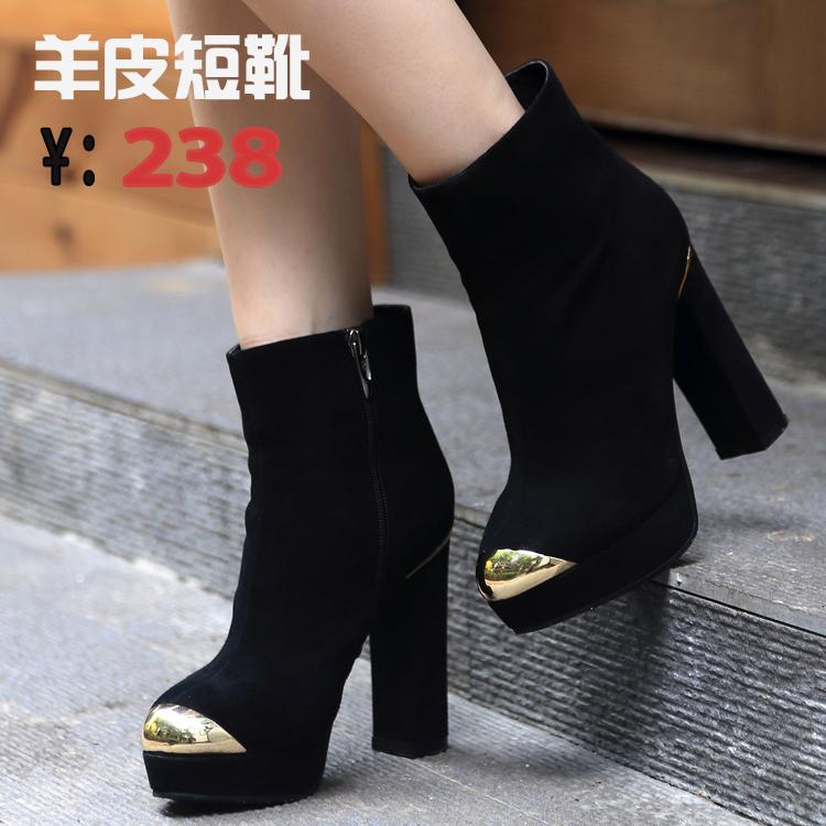 2014冬季 ha20701 女 金属真皮侧拉链粗跟高跟防水台短靴女靴子