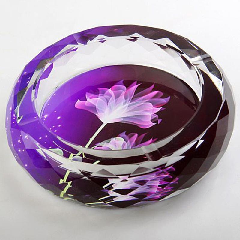 可迪 高档水晶玻璃烟灰缸时尚 创意特大号家居新房婚房装饰精品