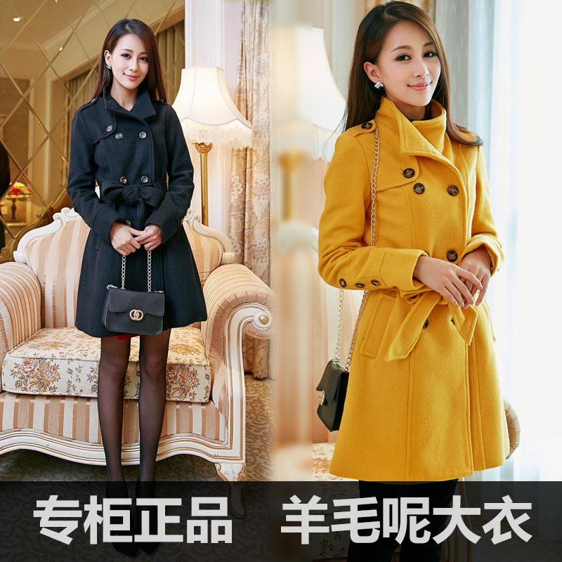 2013秋冬装新款女装呢子外套 韩版修身羊毛呢外套 中长款毛呢大衣