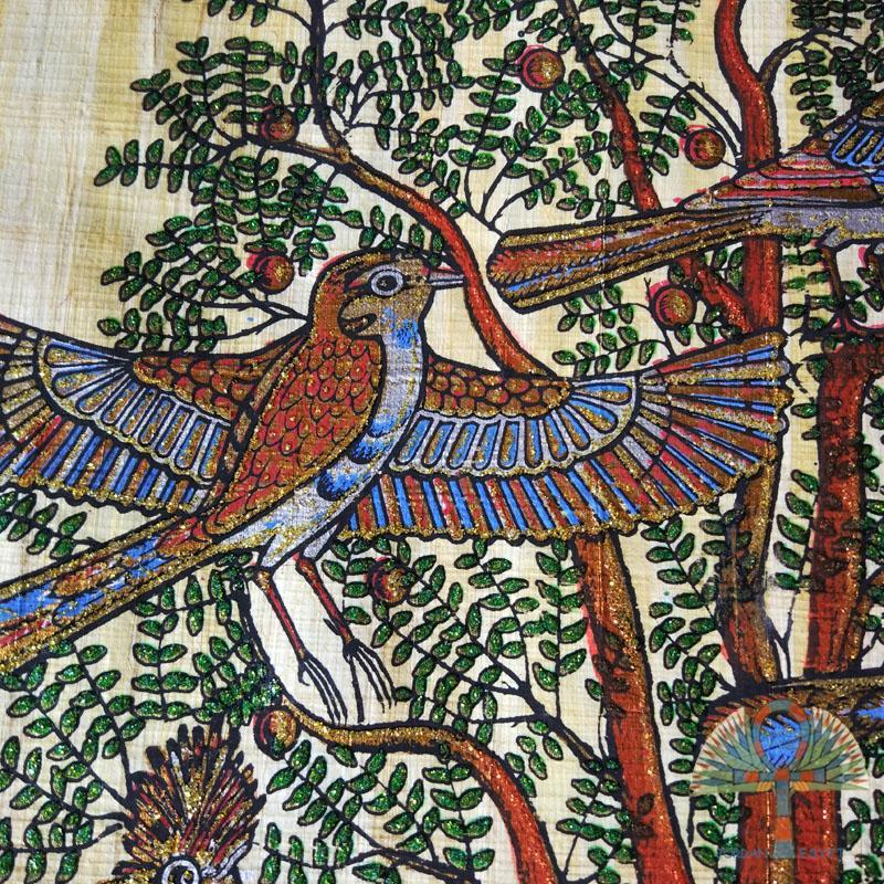 埃及新品天然纸莎草树皮装饰手工现代家居画无框闪粉生命之树包邮
