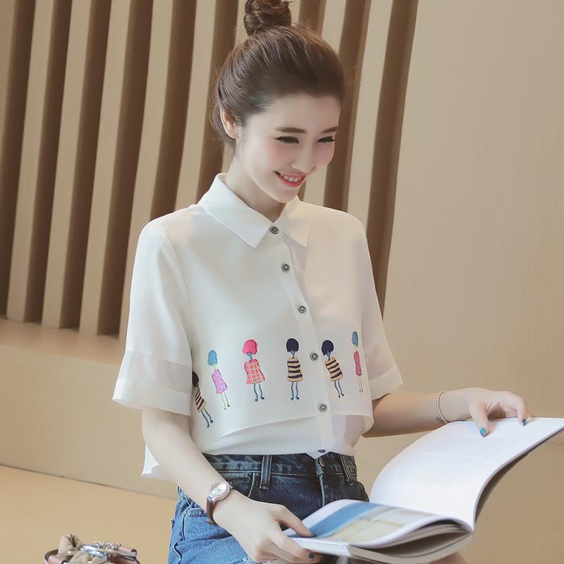 女装印花衬衫2017年新款