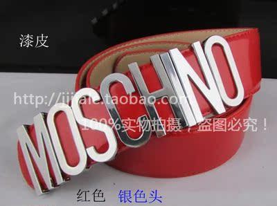 特价包邮潮人必备爆款MOSCHIN莫斯奇诺金银字母漆皮真皮腰带皮带