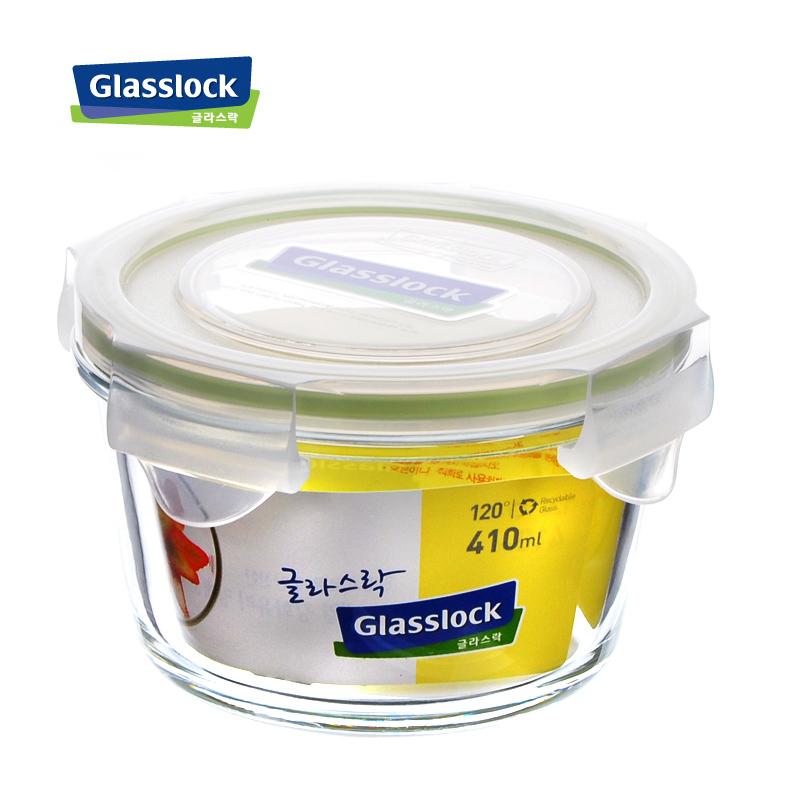 韩国glasslock创意锤形圆形耐热钢化玻璃保鲜盒410ml 宝宝饭盒