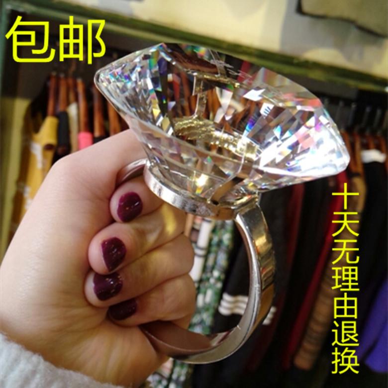 80MM水晶超大钻戒 钻石大戒指 婚庆布景道具 结婚求婚纪念礼 包邮