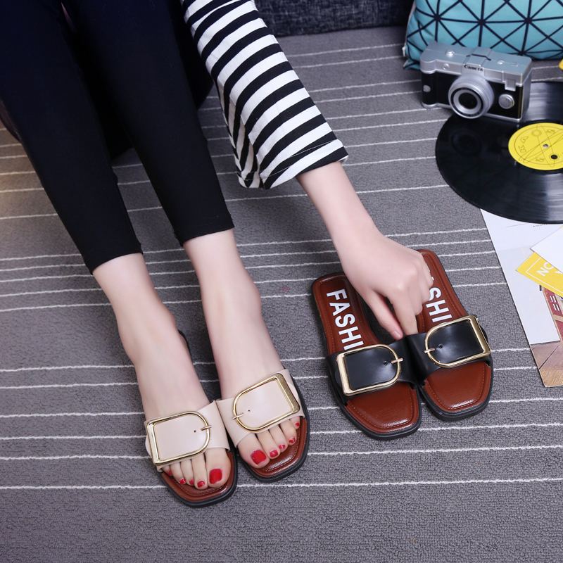 夏季外穿一字拖厚底凉鞋子女鞋沙滩鞋防滑时尚平底拖鞋