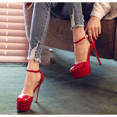 罗马鱼嘴凉鞋女14cm超高跟鞋细跟防水台夏季韩版圆头女式红色婚鞋