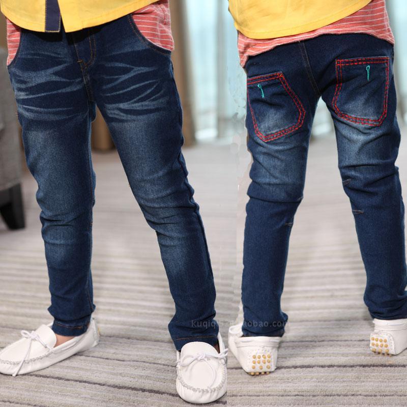 2013秋季新款 男 中童长裤蓝色柔软弹力针织纯棉牛仔裤韩版潮包邮
