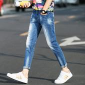 九分牛仔裤男裤男士破洞小脚裤2017夏季薄款修身韩版潮流9分男裤