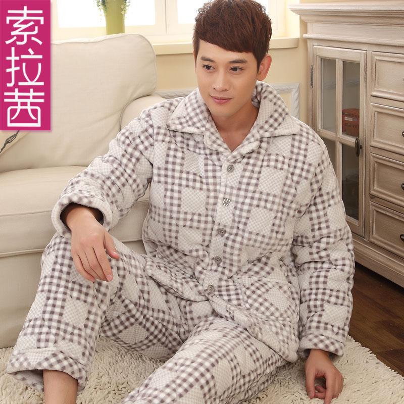 索拉茜男士冬季长袖超柔加厚珊瑚绒夹棉睡衣男家居服套装特价包邮
