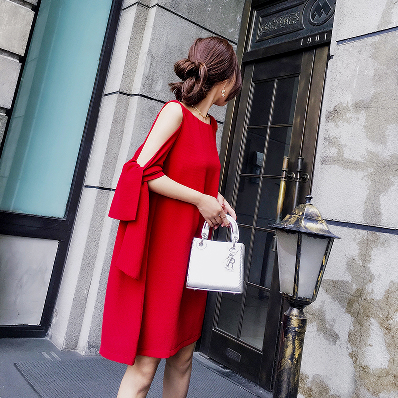2017新款红色露肩雪纺吊带连衣裙女气质名媛夏季chic韩风漏肩裙子