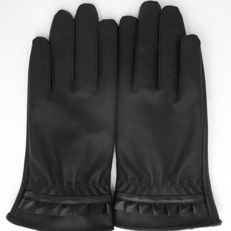 女士韩版皮手套仿鹿纹保暖外出骑车手套女款pu皮绒里加厚薄款手套