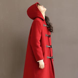 大码女装呢子大衣胖妹妹宽松毛呢风衣胖MM加厚秋冬连帽外套200斤