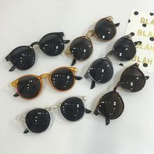 韩国ulzzang复古度假透明边墨镜 个性黄色圆框韩版修脸太阳眼镜潮