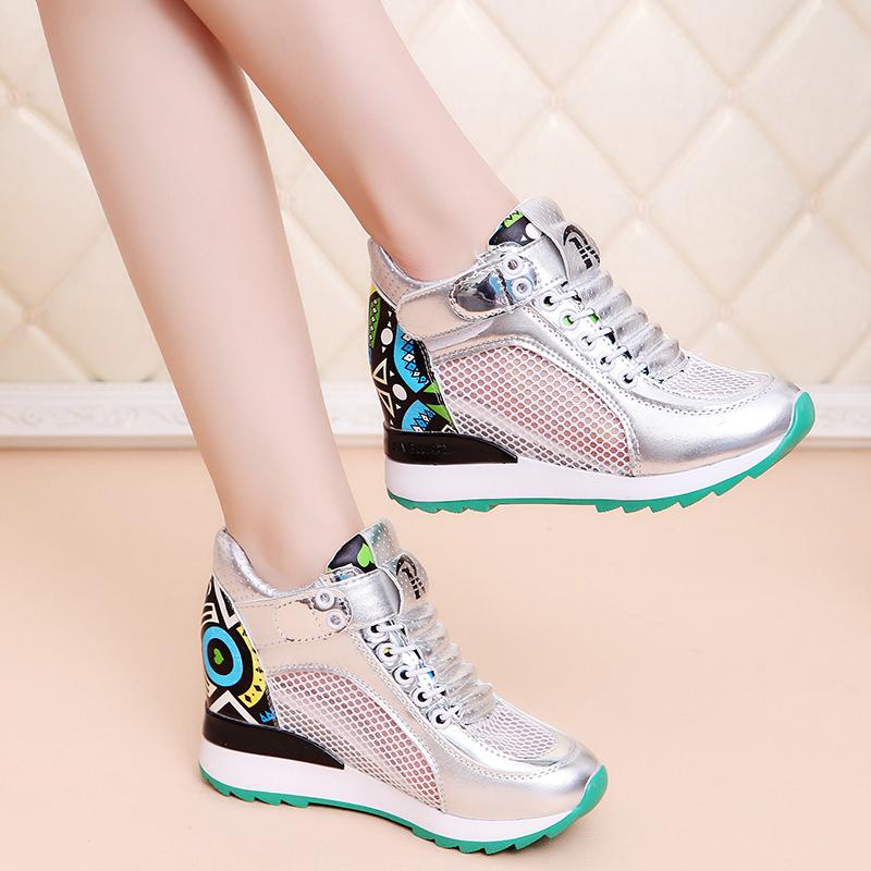 运动鞋女鞋透气夏季休闲网纱小白鞋魔术增高时尚
