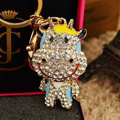 可爱生肖小牛 水晶钥匙链 韩国汽车钥匙扣 包包挂件