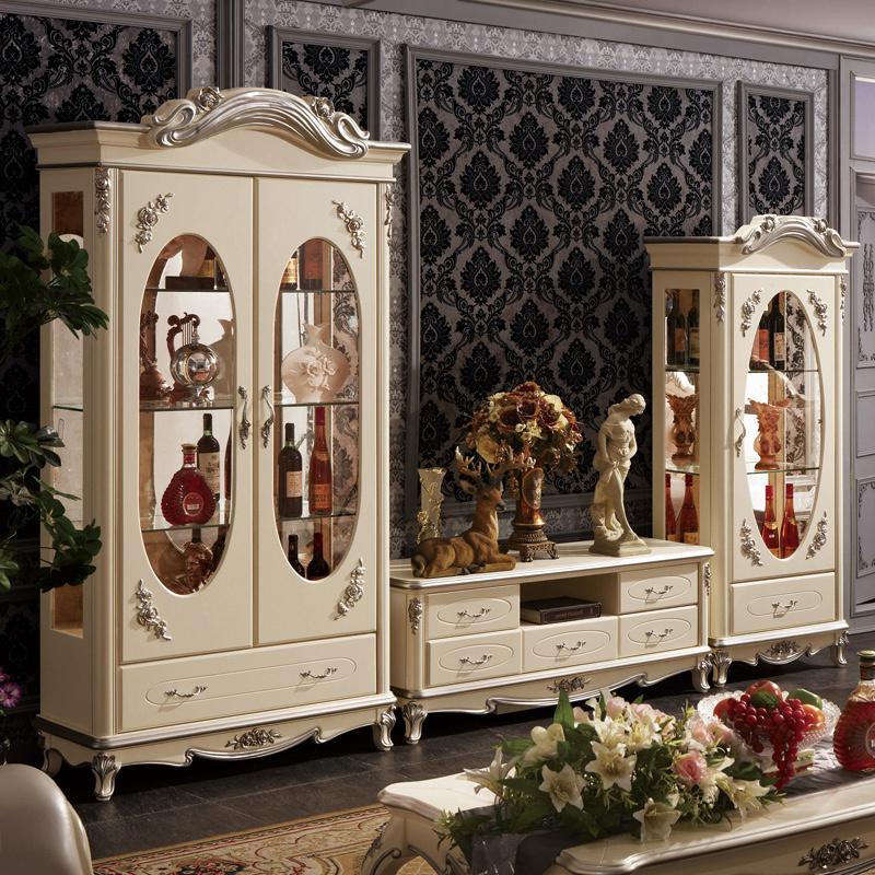 欧式酒柜双门 法式单门储酒柜电视柜组合白色