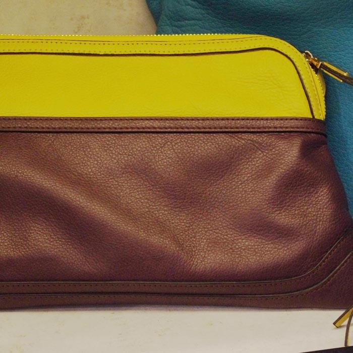 设计师包经典黄棕撞色包拼接手拿包梯形包手包