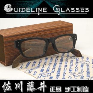 100%专柜正品日本潮人佐川藤井手造复古风平光眼镜框架7095D亮黑