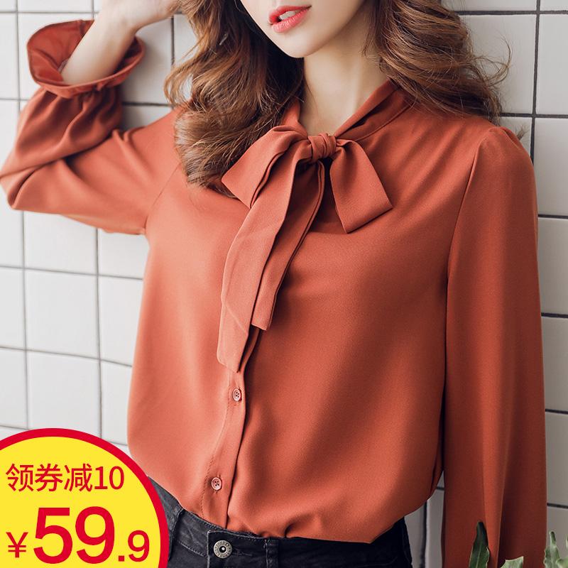 蝴蝶結長袖時尚桃酥雪紡衫夏季女上衣系帶襯衫