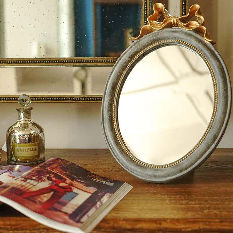 欧式台镜化妆镜梳妆台公主镜子壁挂卧室台式古典蝴蝶