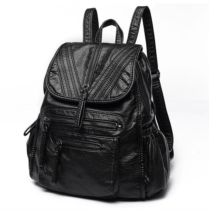 双肩包女韩版2017新款软皮潮流水洗皮背包时尚pu书包休闲旅行包包
