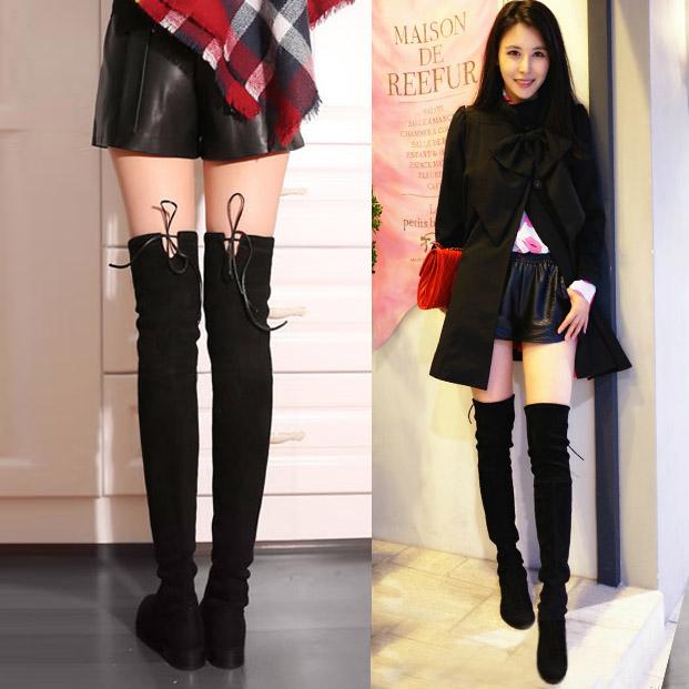 过膝长靴平底长筒靴弹力靴高筒靴女靴过膝靴棉靴平跟2017冬季新款
