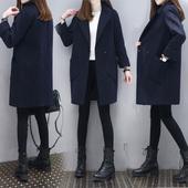 2017春装新款时尚韩版显瘦毛呢外套女中长款藏青色毛呢子大衣外套