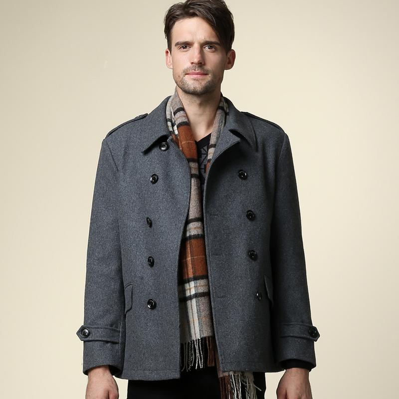 2014冬装新款男装 时尚百搭休闲毛呢大衣西装领昵外套FDY3142014