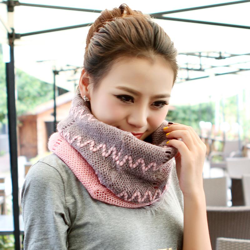 格微诗秋冬季镂空毛线围巾围脖两用套头冬天保暖 女 学生韩国可爱
