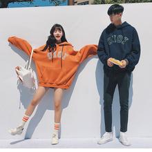气质情侣装冬装2017新款ins上衣加绒卫衣女韩版宽松百搭bf风外套