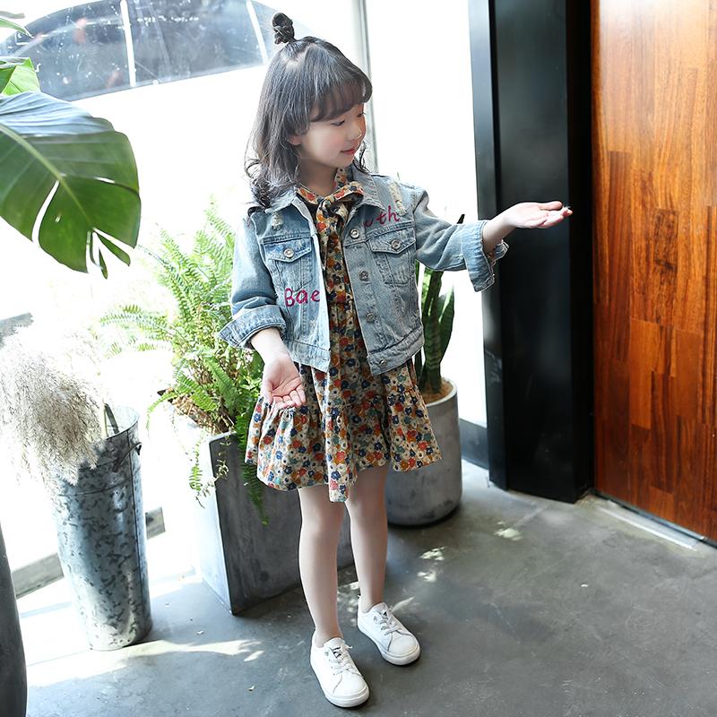 牛仔童装韩国女孩长袖女童外套春季春装风衣儿童夹克衫