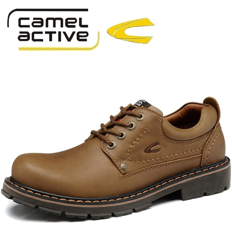 骆驼动感牛皮鞋户外休闲时尚男鞋 冬季新款大头工装鞋真皮皮鞋