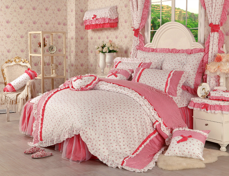 韩版式全棉公主 床裙床罩田园四件套 女童三件套床上用品被单被套