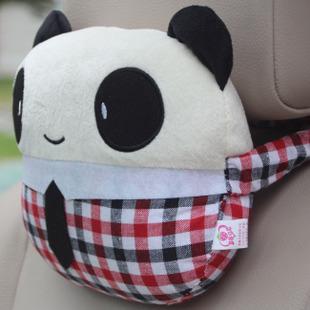 卡通熊猫汽车头枕可爱颈枕 创意抱枕车内饰品 车用品超市特价促销