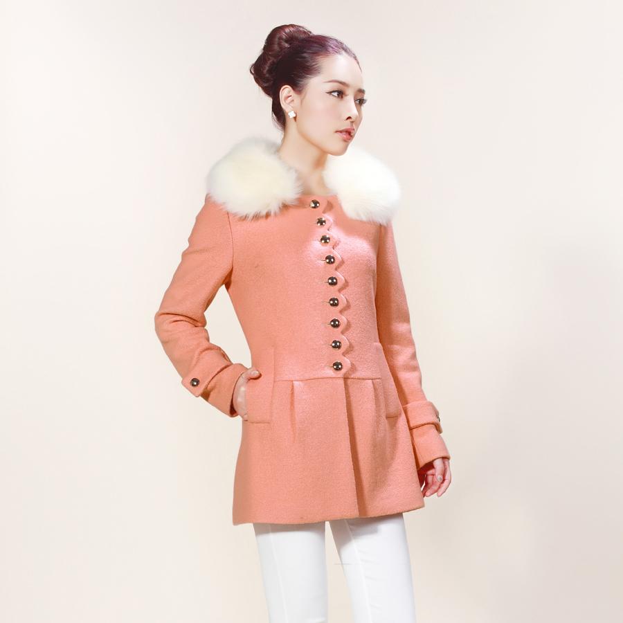秋冬新款气质2013韩版修身显瘦女羊毛呢子中长款毛领外套大衣特价