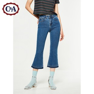 C&A女式棉质水洗牛仔裤 2017新款拼接九分喇叭裤CA200193403