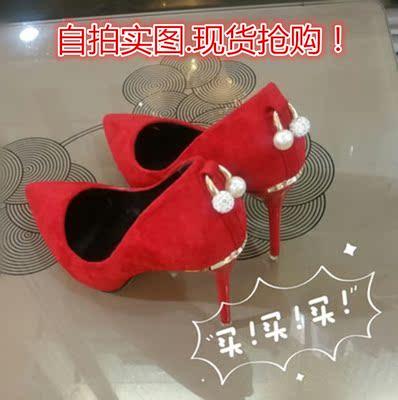 2016新款高跟细跟性感夜店尖头鞋婚鞋红色新娘鞋黑色单鞋工作鞋女