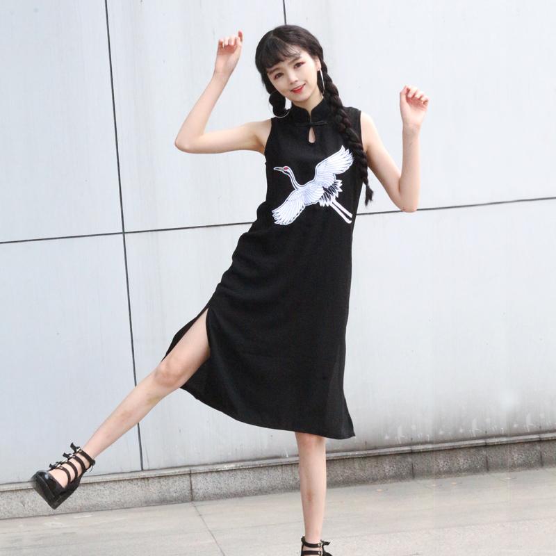 夏装复古中式立领仙鹤刺绣改良旗袍黑色长款无袖雪纺连衣裙A字裙