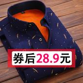 潮寸衫 修身 秋冬季格子衬衣男装 韩版 男士 衣服 保暖衬衫 加绒加厚长袖图片