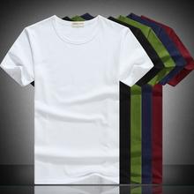 空白纯色纯黑手绘韩版 修身 男士 纯白短袖 T恤纯棉夏季圆领打底衫图片
