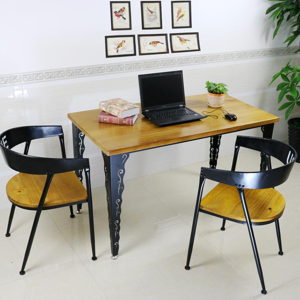 美式实木铁艺书桌电脑桌椅组合办公桌会议桌做旧洽谈