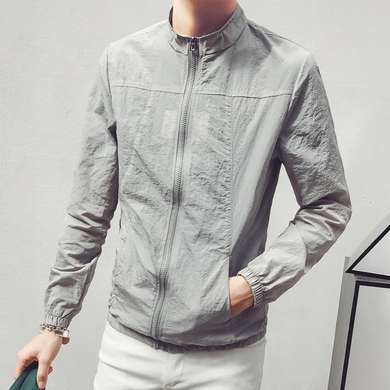 青少年防晒夹克棒球男装男士外套夏季潮男短款轻薄