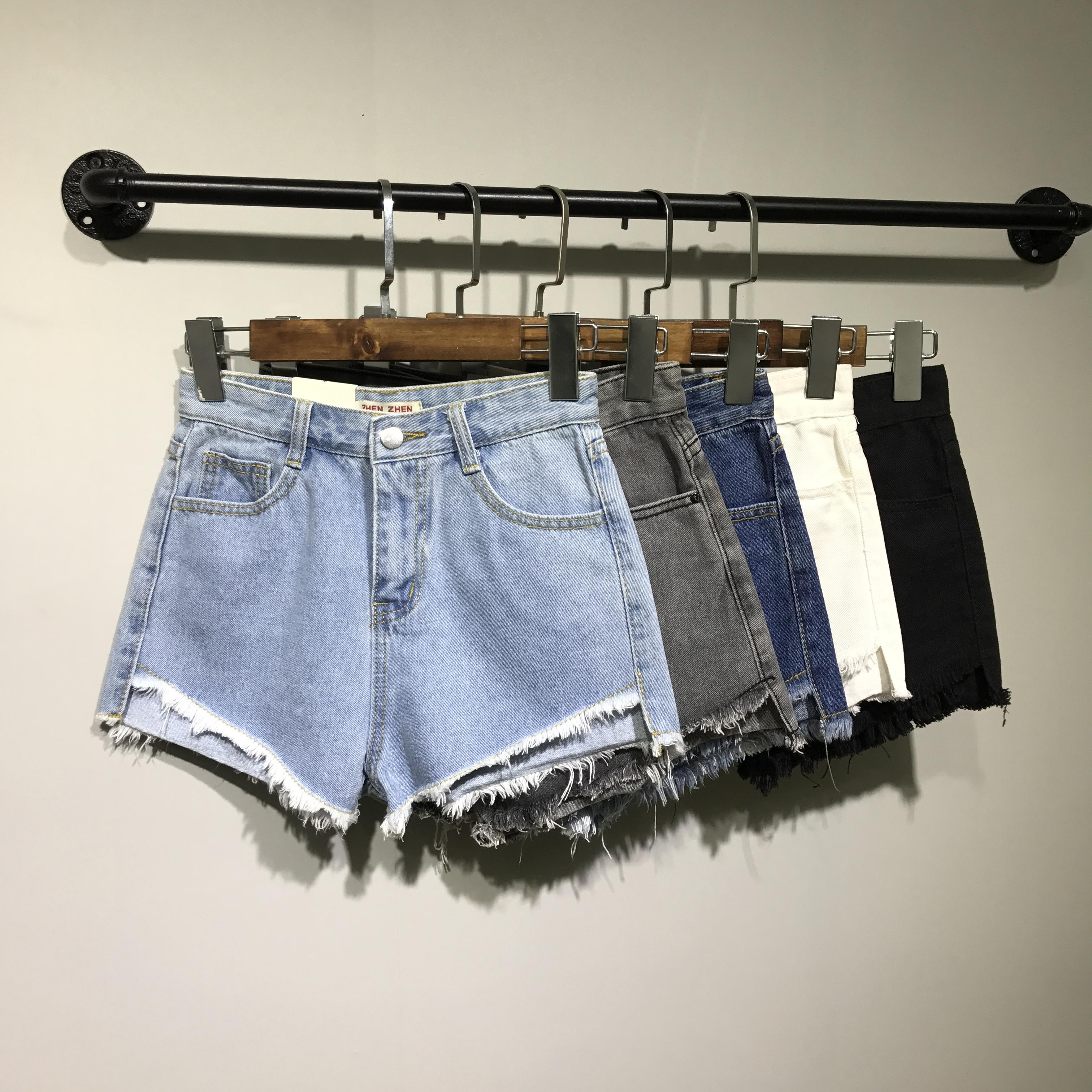 斤韩版毛边mm黑白灰色宽松牛仔高腰热裤肥大短裤